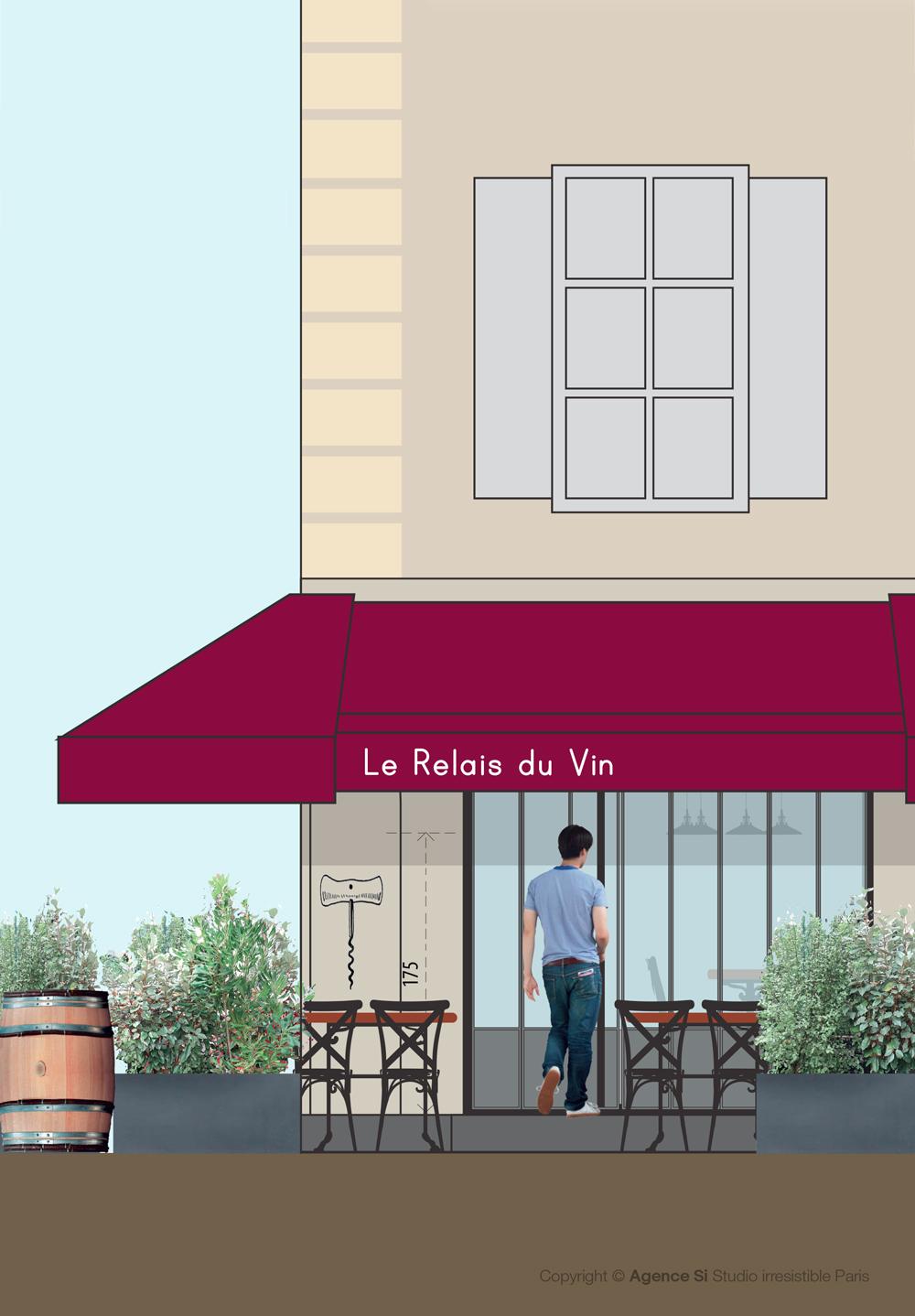 Le Relais Du Vin - Paris Les Halles _Studio-Irresistible_ illustration par Yu Zang Studio irresistible Agence Si